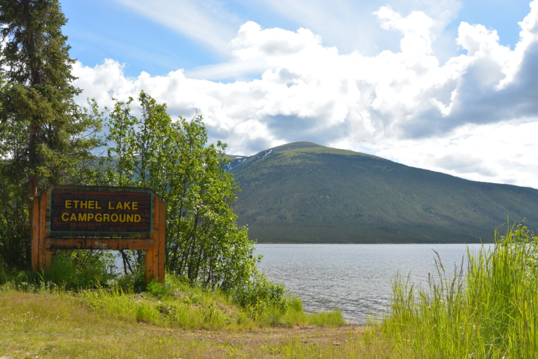 Campground sign and view of lake, Ethel Lake Campground