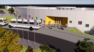A schematic design rendering of the future school.