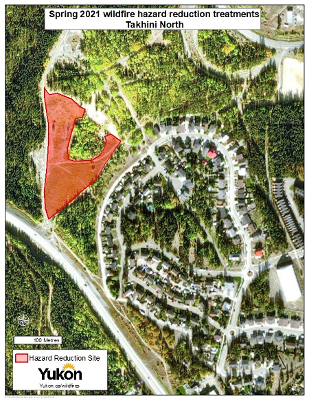 Map showing spring 2021 wildfire hazard reduction treatments Tahkini North