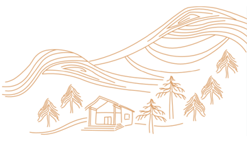 Line drawing of mountains, trees and a cabin