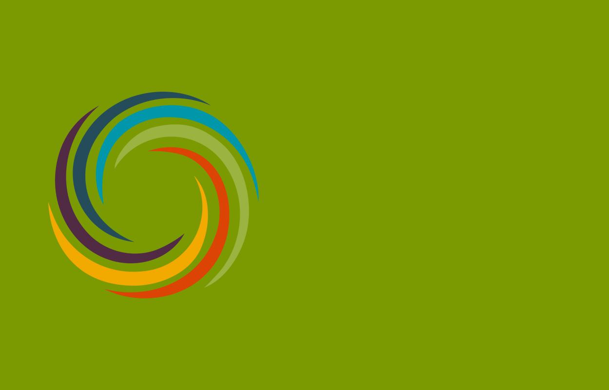rainbow swirl on green background