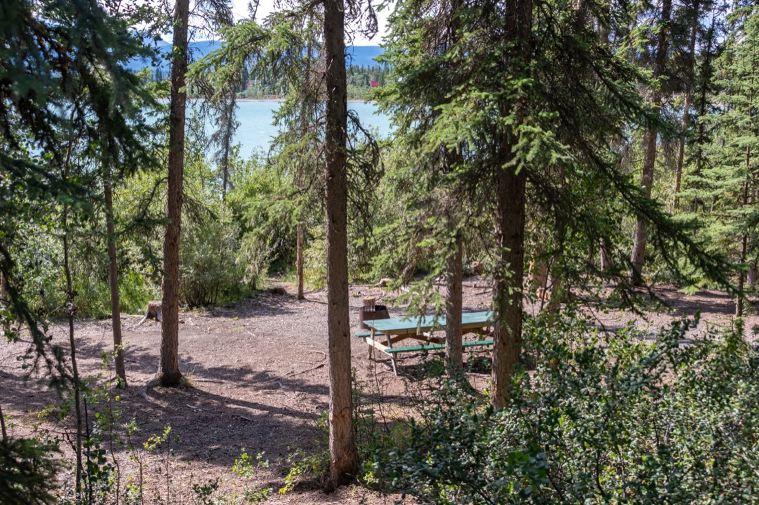 campsite with lake view, Marsh Lake Campground, Yukon.