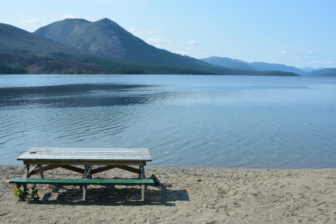 Canoe on beach at Quiet Lake North Campground, Yukon.