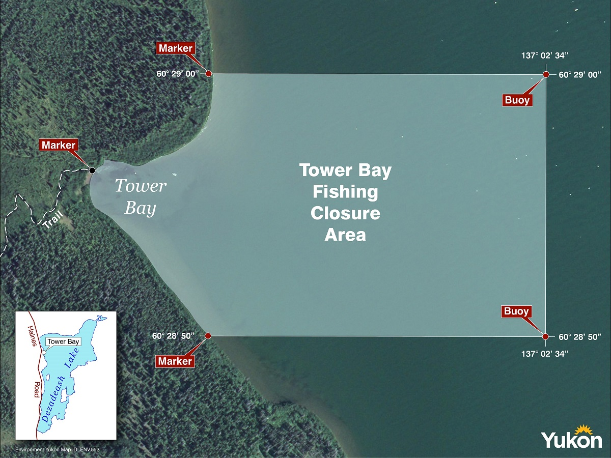 Map of Tower Bay fishing closure area.