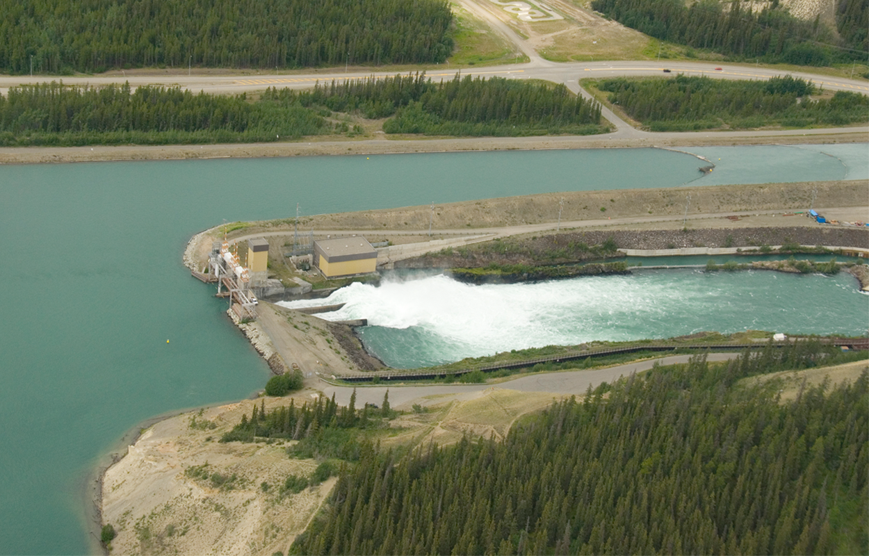 Aerial view of Whitehorse dam