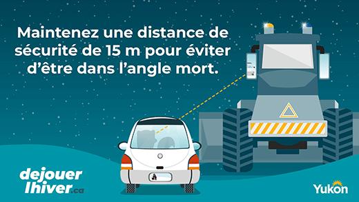 Maintenez une distance de sécurité de 15m pour éviter d'être dans l'angle mort.