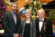 Premier Sandy Silver, Dale Stokes and Commissioner Doug Phillips at the 2018 Commissioner's New Year's Levee. Government of Yukon photo.