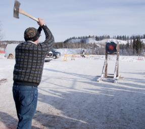 Yukon Sourdough Rendezvous received funding to build a new axe throwing target. Credit: Government of Yukon.
