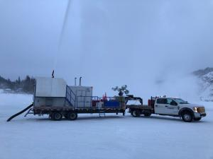 A Big Ice truck spraying the bridge on Tuesday, January 14.
