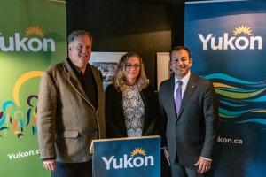 L to R: Peter Turner (Yukon Chamber of Commerce), Kendell Tricker (Hotel Carmacks), Minister Ranj Pillai.