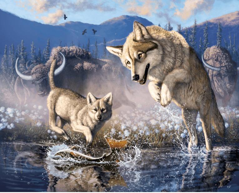 Zhùr et sa maman en pleine chasse. Par Julius Csotonyi