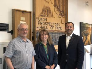 L-R: President of the Yukon Prospectors Association Grant Allan, Executive Director of the Yukon College Centre for Northern Innovation in Mining Shelagh Rowles and Minister of EMR Ranj