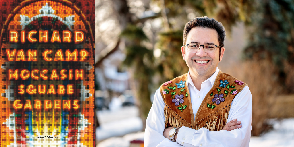 Author Richard Van Camp smiles at the camera. He is wearing a white collared shirt and tanned hide vest beaded with flower pattern. The book jacket is pictured which has the title and author name in colourful beads.