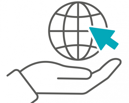 Image of a hand holding up a globe