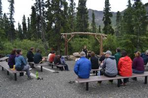 Fireside talk at Tombstone Mountain Campground, Yukon.