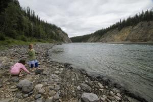 Girls by the river in the Liard Canyon, Yukon