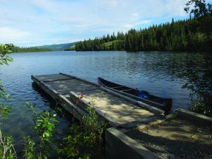 Boat dock at Frenchman Lake Campground, Yukon.
