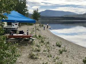 Beach camping at Little Salmon Lake Campground, Yukon