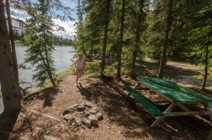 Forested picnic area by river, Nisutlin River Recreation Site, Yukon.