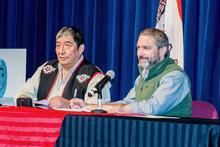 Teslin Tlingit Council Naa Sháade Háni Richard Sidney and Premier Sandy Silver signing the intergovernmental agreement. Photo: Teslin Tlingit Council