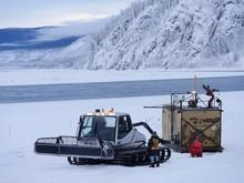 The ice-making equipment is moved into place. Photo: Government of Yukon/Derek Crowe.