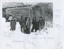 C. late 1960, L-R: Marnie Smith (Lucy Jones' daughter), Norman James, William Atlin, Winnie Atlin, ?,?, Patrick Jones. Yukon Archives, Whitehorse Star Ltd. fonds, 82/563, f25, #96