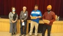 Lyndi Proudfoot and Al Foster,  receiving the award in honour of Agnes Seitz, Paul Robitaille, receiving the award on behalf of Marty and Mary-Ann Knutson, and Gurdeep Pandher. Photo credit: Jenyfer Neumann