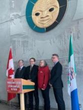 Member of Parliament for Yukon Larry Bagnell, Minister of Environment and Climate Change Canada Jonathan Wilkinson, Minister McPhee and Minister Mostyn