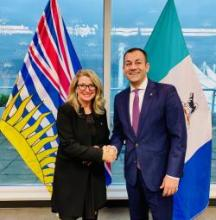 Ranj Pillai, Yukon Minister of Energy, Mines and Resources and Economic Development, and Lana Popham, British Columbia Minister of Agriculture, signed the B.C. and Yukon Memorandum of Understanding on Agriculture in Vancouver on January 21, 2020.