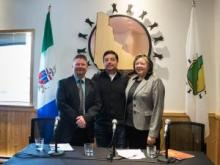 Yukon Legal Services Society executive director David Christie, Council of Yukon First Nations Grand Chief Peter Johnston and Minister of Justice Tracy-Anne McPhee
