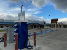New fast-charging station for electric vehicles installed at the Da Kų Culture Centre in Haines Junction. (Photo credit: Champagne and Aishihik First Nations)