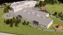 A rendering of a potential design for the new Whistle Bend Elementary School. The school's orientation maximizes the natural elements of the lot and was chosen through collaborative discussions with the Project Advisory Committee.