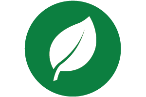 Leaf on green circle. Low Carbon Economy Fund  graphic element.