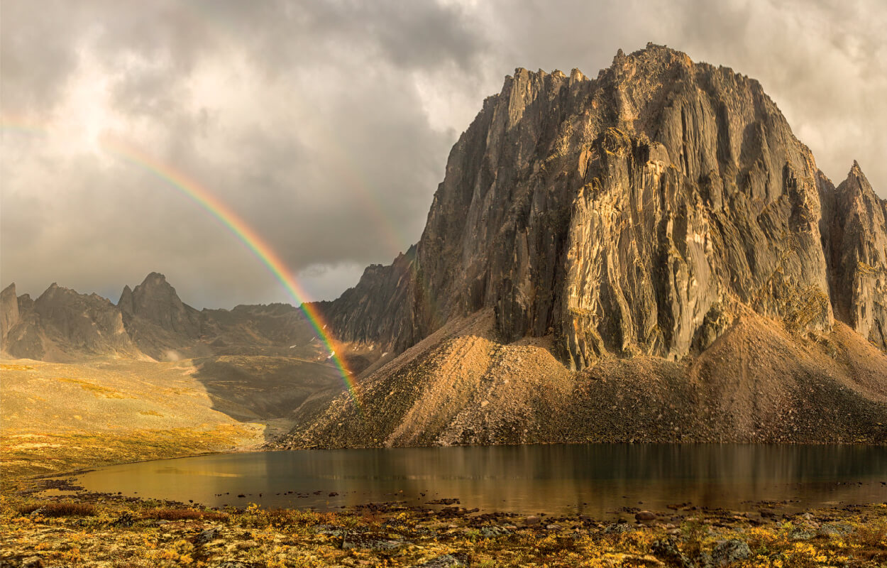 Rainbow at Talus Lake, Tombstone Territorial Park; Credit: Robert Postma